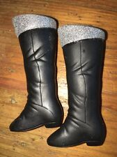 Barbie Fashion Style Fashionista~Hannah Montana Black Boots w/ Silver Dust Trim
