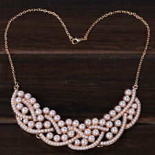 Vogue New Rose Gold Chain Full Faux Pearls Chocker Wedding Necklace Women Party