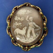STUNNING ANTIQUE SPINNING CARVED SHELL CAMEO BROOCH BOY WITH A DOG