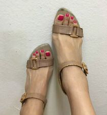 USED Sexy Strappy Heel Beige Sandal Stilettos OPEN TOE PRINT Wedge Pump 7