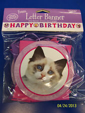 Kitty Cat Kitten Pink Kids Birthday Party Decoration Jointed Foam Letter Banner