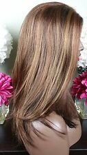 Sexy Off Black/Blonde HL/Brown Nape Lace Front Wig Soft Long Layers Heat Safe