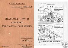 BRISTOL BEAUFORT MAINTENANCE MANUAL 1940's RARE WW2 Historic Detailed Archive
