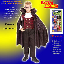 Boys Vampire Dracula Halloween Party Kids Child Costume S:Med FREE: Vampire Kit