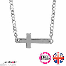 NEW SILVER CROSS PLATED PENDANT LARIAT NECKLACE CHRIST JESUS CHAIN BOHO WOMENS