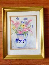 """Flowers"" In a blue transfer ware vase original watercolor gold frame FRENCH"