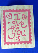 "New! Large Wooden Rubber Stamp (849609)""I Love you"" W/Hearts 3 x 2.5"""
