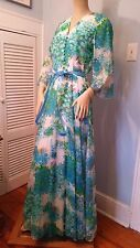 VTG NAT KAPLAN COUTURE 1970s ROMANTIC FLORAL PRINT BOHO MAXI DRESS BELL SLEEVES