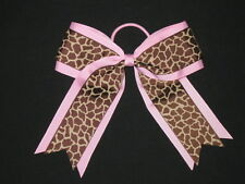"NEW ""PINK GIRAFFE"" Cheer Hair Bow Pony Tail 2.25 Inch Ribbon Girls Cheerleading"