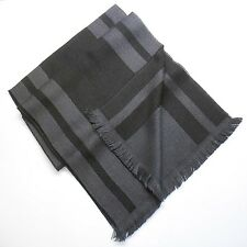NWT $170 Giovanni Botticelli Scarf 100% Wool Black w/ Gray Stripe Made in Italy
