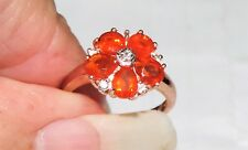 9K Rose Gold Mexican Fire Opal Sapphire Accents Ring 2 Grams 1.30 cts Size 3.75