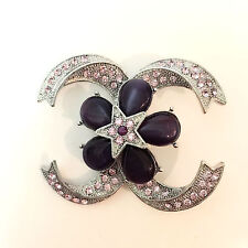New Lavender Star Flower Ribbon Lace Good Fortune Lucky Crystal Brooch Pin B1306
