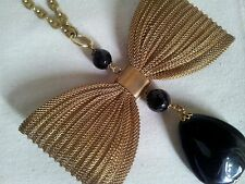 NEW DOTTY K NET-A- PORTER LARGE BRASS STATEMENT BOW & BLACK ONYX NECKLACE