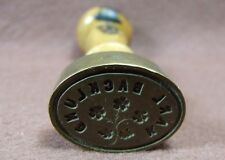 Antq 19th Century Victorian Wood & Brass Personal Floral Sealing Wax Stamp Seal