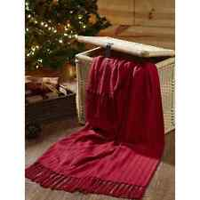 """CLASSIC CHRISTMAS RED THROW BLANKET RED COTTON WOVEN THROW WITH TASSELS 50X60"""""""