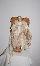 1999 Beautiful Angel Figurine Tall with White Flowing Dress and Ribbons