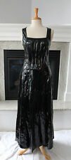 LIP SERVICE Black PVC Gothic Ball Gown With Train Hooks in back Long  Dress M