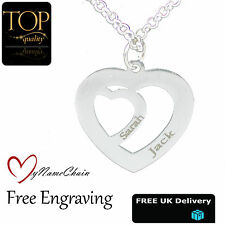 Love Heart Inside Heart Personalised Necklace Any Name Engraved Silver Jewellery