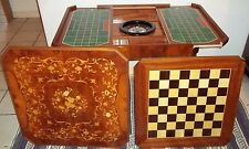 Stunning Italy Italian Inlaid Wood Game Table  Roulette..Chess..Backgammon..Card