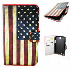 Leather Flip Pocket Phone Case Cover Stand For Samsung Galaxy Note 2 II N7100