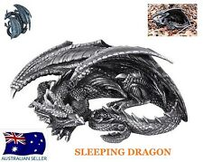 BLACK GOTHIC SLEEPING DRAGON STATUE FIGURINE WALL PLAQUE LARGE 32CM - DRAGSLES