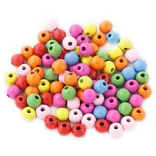 100pcs 12mm Colorful Natural Wooden Spacer Loose Beads for Jewelry Making