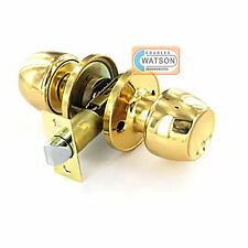 Polished Brass PASSAGE KNOB SET Door Handle Latch Fixings