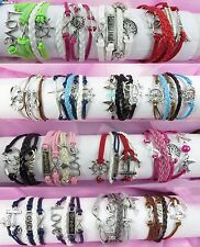 US SELLER-20pc wholesale lot friendship infinity bracelet silver charms gift