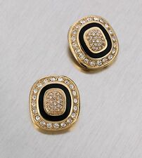 VTG 1980s CHRISTIAN DIOR GOLD CLEAR CRYSTAL PAVE BLACK ENAMEL CLIP-ON EARRINGS