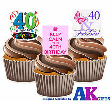 Ladies Happy 40th Birthday Party Mix 12 Cup Cake Toppers Edible Decorations