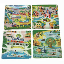 WDW Kevin Kidney 1970's Walt Disney World Preview Center Map 4 Plate Cermaic Set