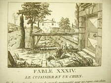 Fable le cuisinier et le chien vers 1800 The cooker and the dog gravure print