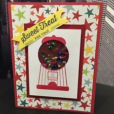 """Hand-Stamped """"A Sweet Treat For You"""" Gumball Machine Handmade SEQUIN SHAKER Card"""