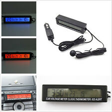 12V LED Backlight Autos Indoor/Ourdoor Digital Thermometer ℃/℉ Volt Guage Clock