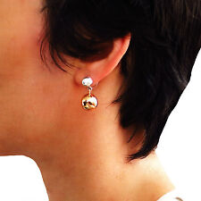 Sterling 925 Silver and Copper Ball Bead Drop Earrings