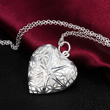 Fashion Silver Plated Heart Ladies Necklace Pendant Lover Locket Chain Gift