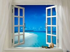 BEAUTIFUL TROPICAL SEA VIEW Through Window LARGE Art Silk Poster 24x36 inch