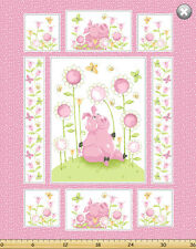 "Susybee's Flip, the pig flowers quilt Top 100% cotton 43"" fabric by the panel"