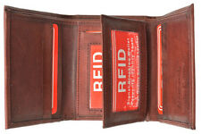 Red RFID Security Safe Block Men Leather ID TRIFOLD ID Card Center Flap Wallet