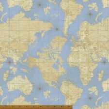 Windham Theory of Aviation 42095 X Lt Blue World Map COTTON BTY