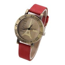 Vintage Roman Numeral Hours Ladies Watch Gift For Her Women  Leather Strap