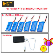 6pcs 3.7V 500mAh Lipo Battery+6in1 Charger For Hubsan X4 Plus H107C H107D Drone