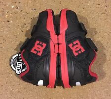 DC Forter V Toddlers Size 5 US Black Athletic Red Skate Shoes Sneakers