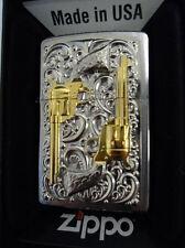 Zippo ® Golden Revolver Gun Pistole echt Stiftvergoldet 18 K -  Neu/New OVP