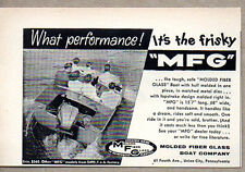 1957 Vintage Ad MFG Molded Fiberglass Boats Union City,PA