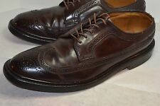 VINTAGE FLORSHEIM IMPERIAL WINGTIP SHELL CORDOVAN LEATHER SHOES! V-CLEAT! 10 D
