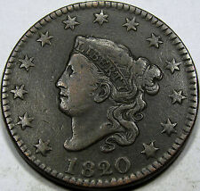 1820/19 Coronet Head Large Cent Choice EF...So Nice and Original, Neat Overdate!