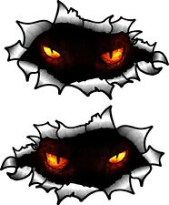 Small Pair Oval Ripped Torn Metal To Reveal Evil Peeping Demon Eyes car sticker