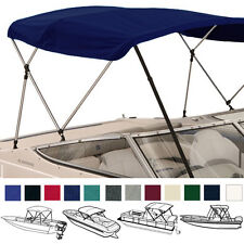 "BIMINI TOP BOAT COVER NAVY 3 BOW 72""L 54""H 54""-60""W - W/ BOOT & REAR POLES"