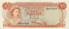 CENTRAL BANK OF BAHAMAS 5 DOLLARS 1974 - SCARCE LOVELY CHOICE CRISP AU/UNC